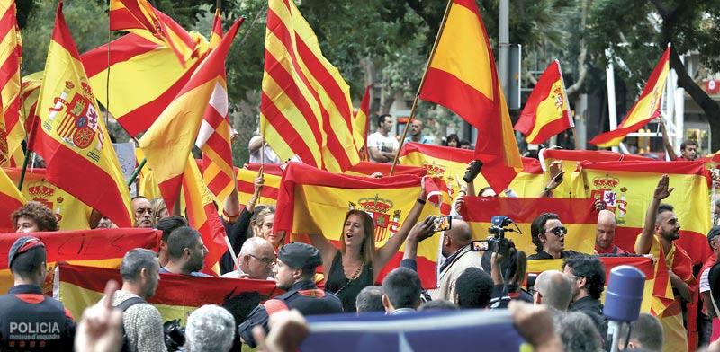 הפגנה נגד משאל העם על עצמאות קטלוניה  / צילום: רויטרס