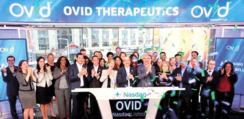 """הנהלת Ovid Therapeutics, וג'רמי לוין בראשותה, בפתיחת המסחר בנאסד""""ק/ צילום מאתר החברה"""