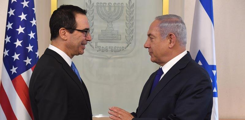 סטיבן מנוצ'ין   בנימין נתניהו / צילום: שגרירות ארה״ב בישראל