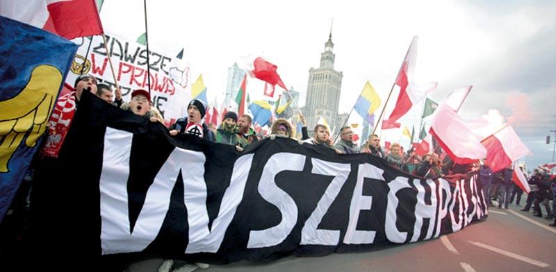התהלוכה הלאומנית בוורשה. אירוע שמושך יותר משתתפים משנה לשנה  / צילום: רויטרס, Agencja Gazeta