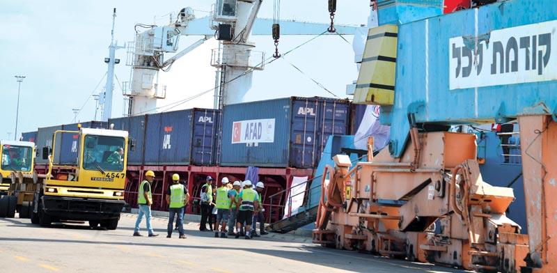 פורקים סחורה מיובאת בנמל אשדוד / צילום: תמר מצפי