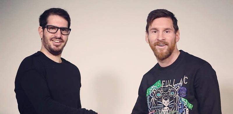 """ליאו מסי (מימין) ומשה חוגג, מייסד ומנכ""""ל סירין לאבס / צילום: יח""""צ"""