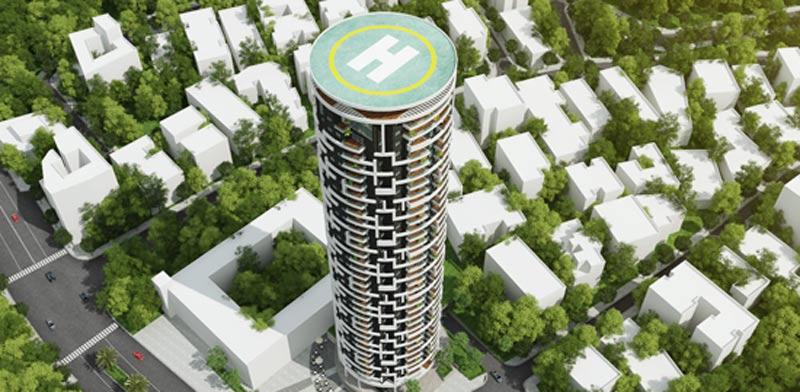 הדמייה של מגדל האחדות רמת גן/ קרדיט : סי טי בי אדריכלים
