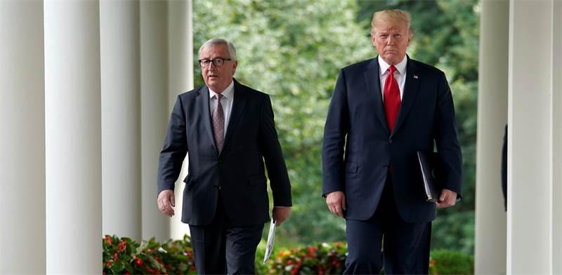 "נשיא ארה""ב דונלד טראמפ ונשיא הנציבות האירופית ז'אן קלוד-יונקר / צילום: רויטרס"