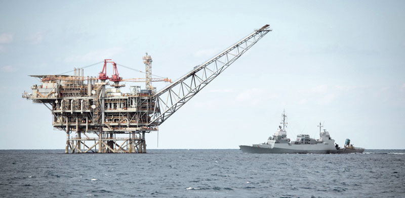 Offshore Israeli gas rig Photo: IDF Spokesman