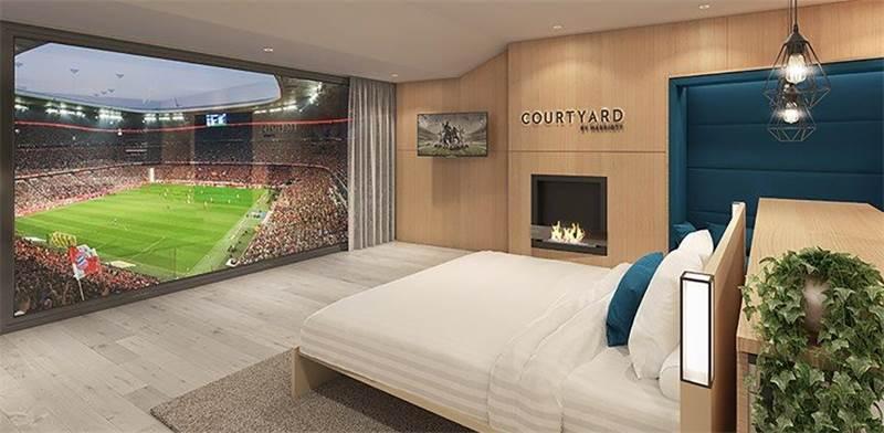 מלון בתוך מגרש הכדורגל של באיירן מינכן / אתר רשת המלונות מריוט
