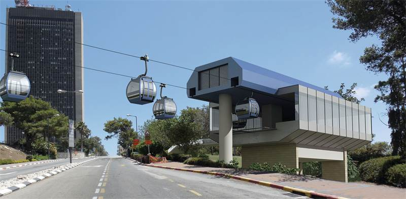 Impression of Haifa University cable car station  image: Yefe Nof