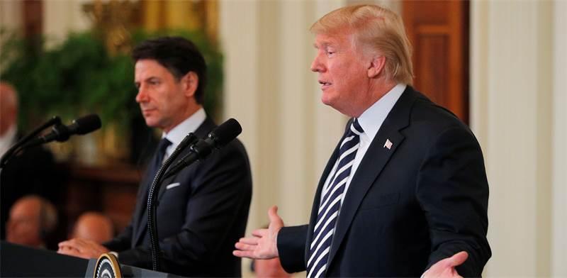 דונלד טראמפ במסיבת עיתונאים עם ראש ממשלת איטליה / צילום: רויטרס. Brian Snyder