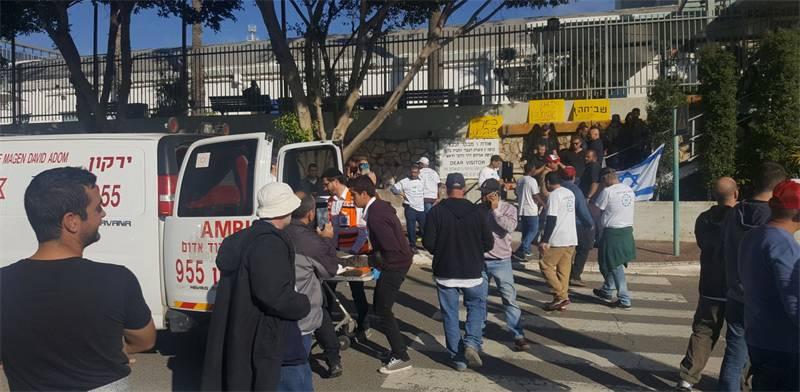 """עובדי ECI הותקפו באלימות ובגז מדמיע ע""""י מאבטחים בריונים ששכרה הנהלת החברה / צילום: דוברות ההסתדרות"""