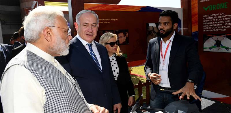 The Netanyahus in India Photo: Tal Schneider