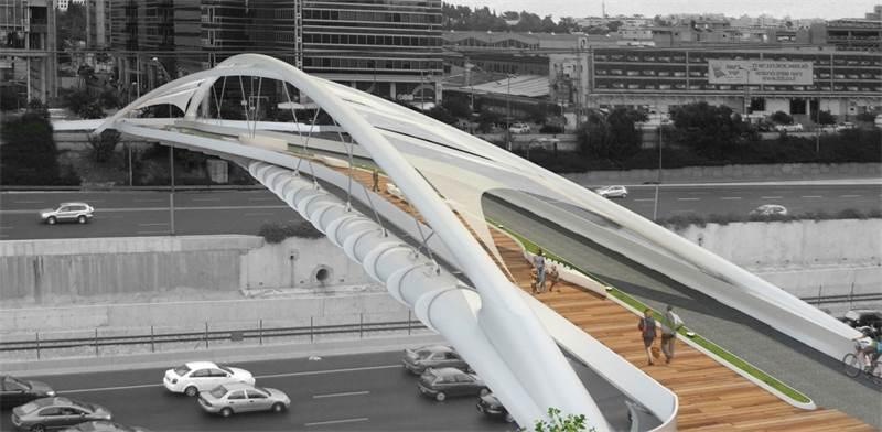 Ayalon pedestrian bridge Photo; Chen Architects