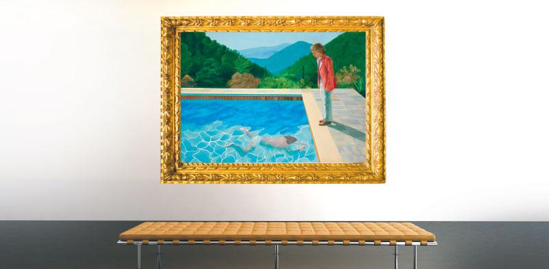 """""""דיוקן של אמן (בריכה עם שתי דמויות)"""" של דיוויד הוקני / צילום: מתוך וויקיפדיה"""