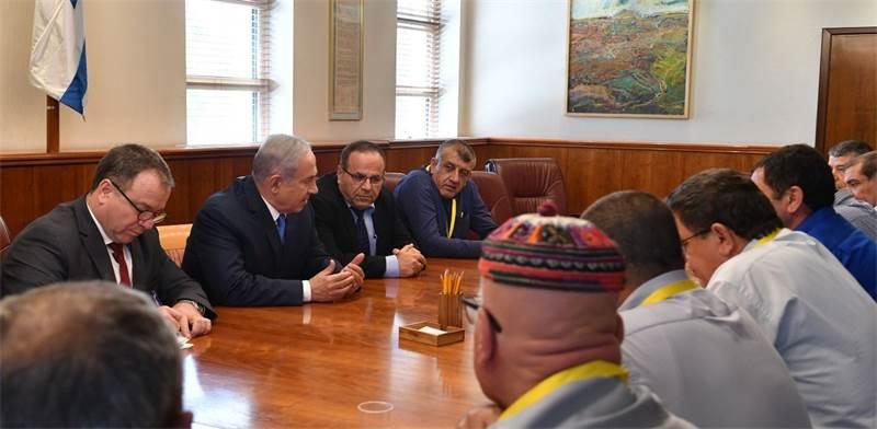 """נתניהו וקרא נפגשים עם ראשי מועצות מן המגזר הדרוזי / צילום: לע""""מ, קובי גדעון"""