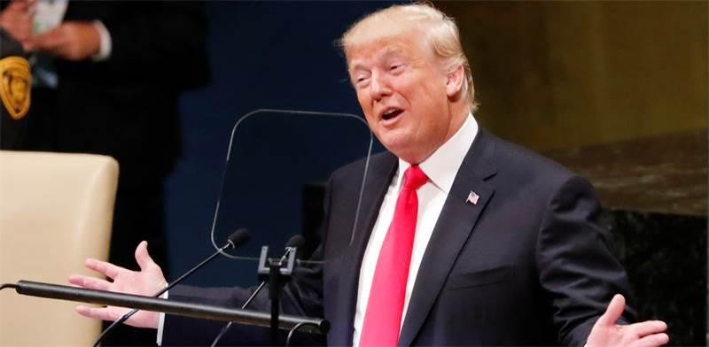 """דונלד טראמפ, נשיא ארה""""ב, נואם בעצרת האו""""ם / צילום: Reuters, Carlos Barria"""