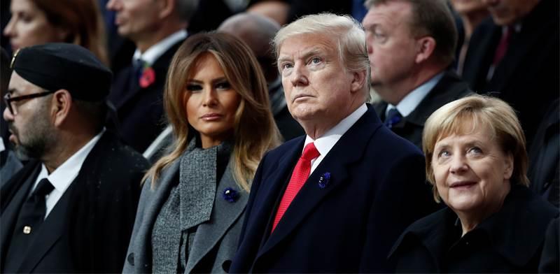 """קנצלרית גרמניה והזוג הנשיאותי האמריקני בטקס לציון 100 שנים למלחה""""ע הראשונה / צילום: רויטרס"""