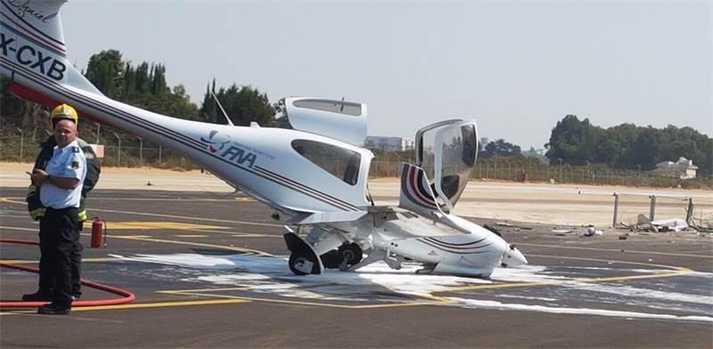 מטוס קל התרסק בהרצליה / צילום: רשות שדות התעופה