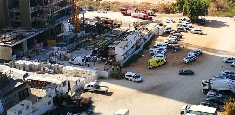 אתר הבנייה שבו נהרג ביום ראשון האחרון אנטון מרצ'נקו / צילום: הפורום למניעת תאונות עבודה