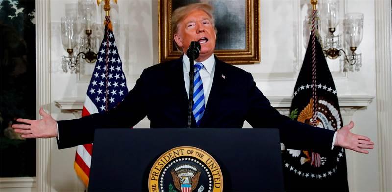 """טראמפ בנאום על הודעת פרישת ארה""""ב מההסכם עם איראן / צילום: רויטרס"""