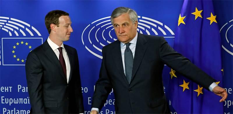 נשיא הפרלמנט אנטוניו טג'ני ומארק צוקרברג היום / צילום: רויטרס