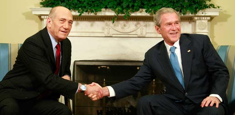 בוש ואולמרט ב-2008 / צילום: רויטרס