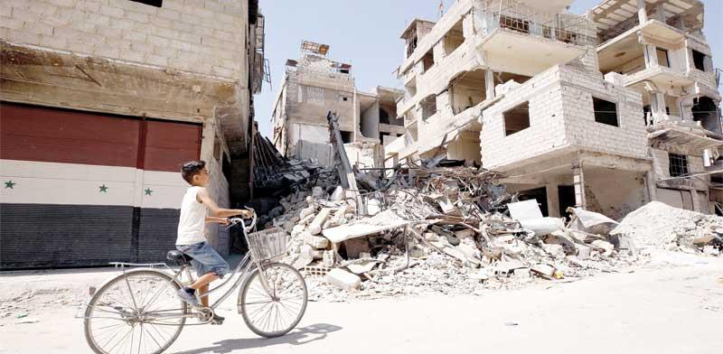 ההרס באחת מערי סוריה. /צילום: רויטרס  Omar Sanadiki