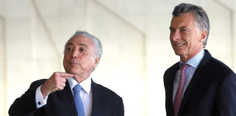 נשיא ארגנטינה מאוריסיו מאקרי ונשיא ברזיל מישל טמר / צילום: רויטרס Adriano