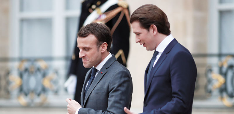 הקנצלר קורץ והנשיא מקרון / צילום: רויטרס, Benoit Tessier