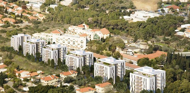 """פרויקט המגורים שתוכנן במתחם מלון """"עדן אין"""" בזכרון יעקב / הדמיה: שוורץ בסנוסוף אדריכלים"""