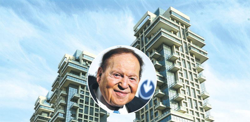 Sheldon Adelson and Akirov Towers Photo: Eyal Izhar