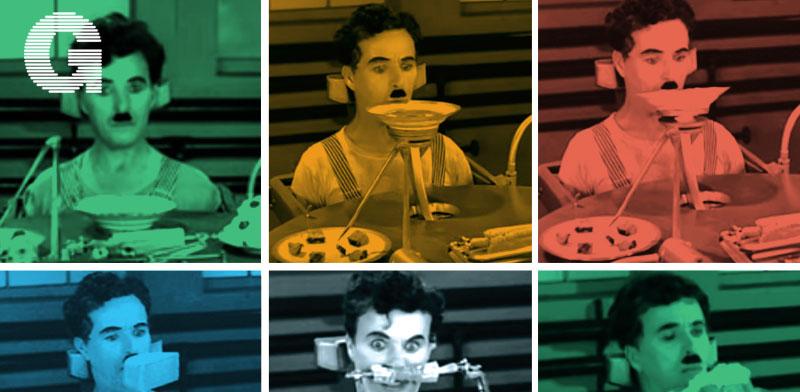 """צ'ארלי צ'פלין / צילומי מסך מתוך הסרט """"זמנים מודרניים"""""""