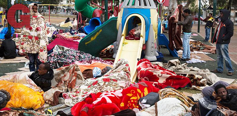 מחאת המהגרים ב־2014, בגינת לוינסקי  / צילום: רויטרס - Baz Ratner