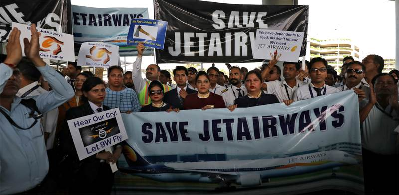 הפגנה של עובדי ג'ט איירווייז / צילום: Anushree Fadnavis, רויטרס