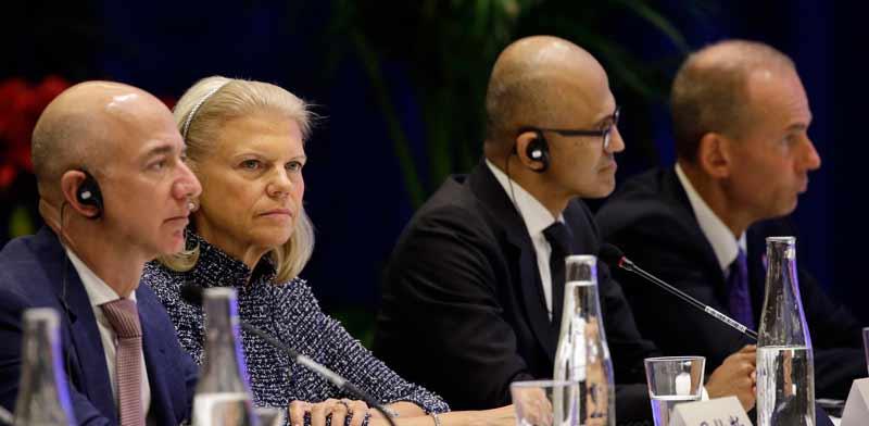 """המנכ""""לים של בואינג, מיקרוסופט ואמזון בIBM / ה צילום: רויטרס  / POOL New"""