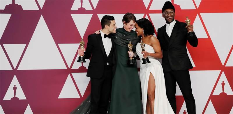 רמי מאלק, אוליביה קולמן, רג'ינה קינג ומהרשלה עלי, הזוכים באוסקר 2019 לשחקן הראשי ושחקן המשנה / צילום: REU