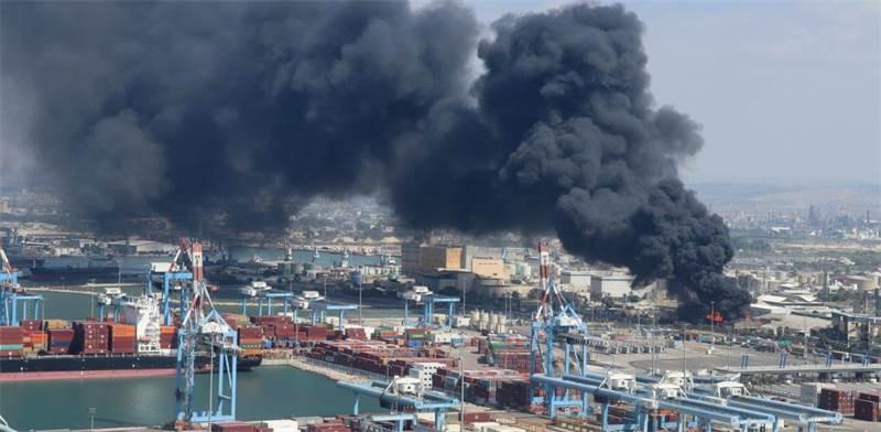 שריפה בשמן תעשיות בנמל חיפה / צילום: דוברות המשרד להגנת הסביבה