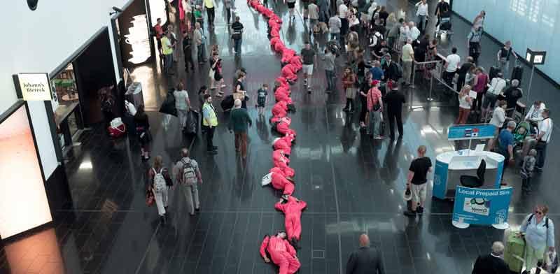 הפגנה של מתנגדי הטיסות בווינה  / צילום:  Stay Grounded