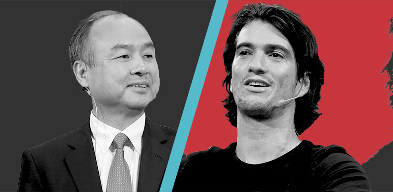 """אדם נוימן, מייסד WeWork, ומסיושי סאן, מייסד ומנכ""""ל סופטבנק / צילומים: Noam Galai, flicker, shutterstock"""