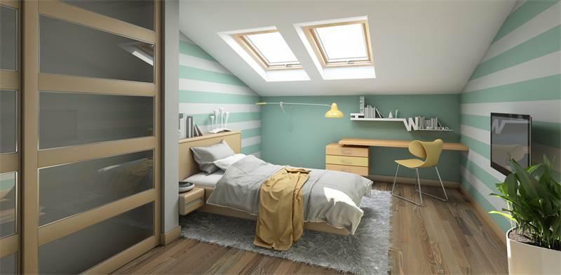 חדר שינה בעליית גג / צילום: shutterstock
