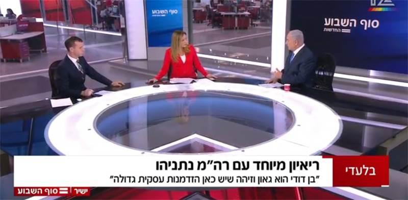 נתניהו מתראיין בחדשות 12 / צילום: באדיבות חברת החדשות בקשת 12