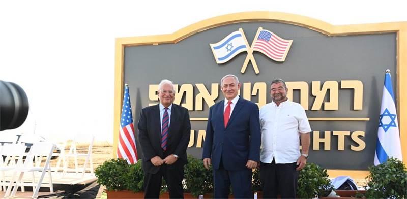 Ambassador David Friedman, PM Benjamin Netanyahu, Golan Regional Council Chairman Haim Rokah photo: