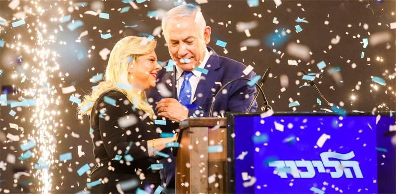 בנימין נתניהו ורעייתו בנאום הניצחון הלילה / צילום: שלומי יוסף