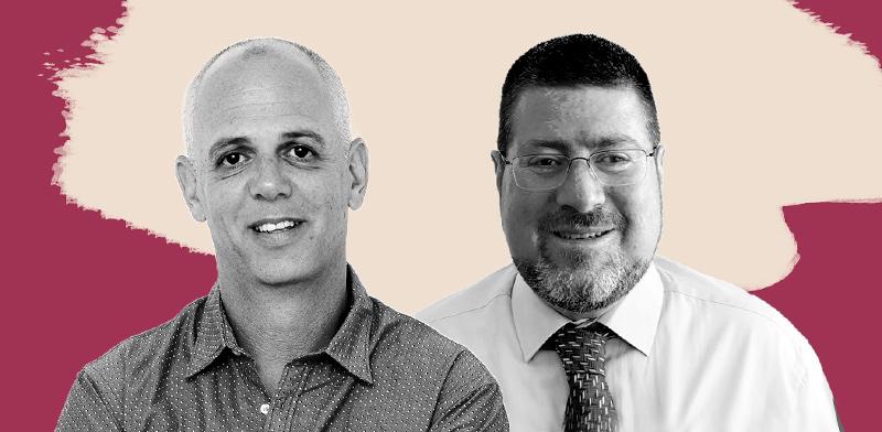 """גיא קריגר, מנכ""""ל מנורה מבטחים פנסיה, ויאיר לוינשטיין, מנכ""""ל אלטשולר שחם גמל / צילומים: יח""""צ, איל יצהר"""