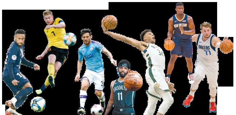 שחקני NBA וכדורגל / צילום: רויטרס