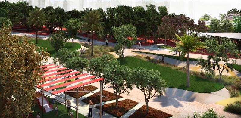 """הפארק בשכונת """"מגדלים בשדרה"""" בחולון / הדמיה: ברוס לוין"""
