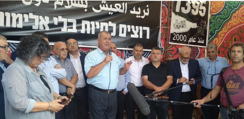 מוחמד ברכה נואם בשביתת הרעב נגד האלימות בחברה הערבית / צילום: הרשימה המשותפת