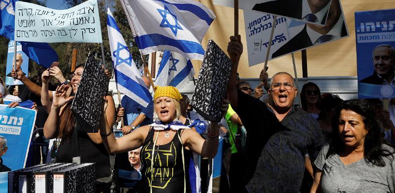 תומכי ראש הממשלה בנימין נתניהו / צילום: NIR ELIAS, רויטרס