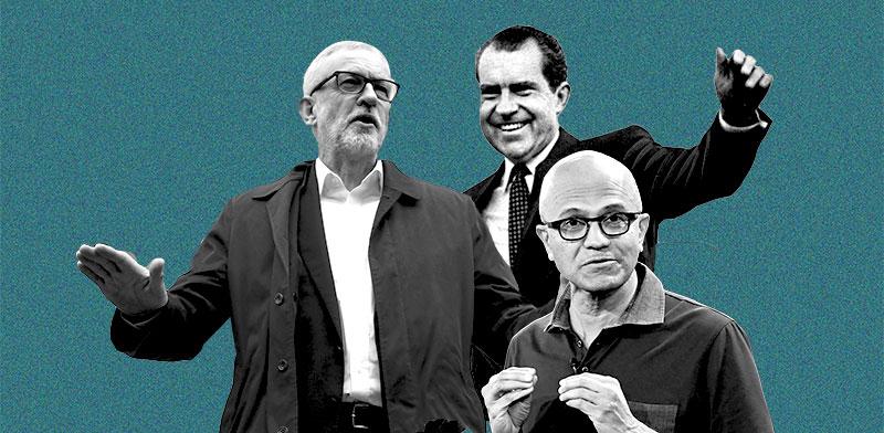 סיאטה נאדלה, ריצ'רד ניקסון, ג'רמי קורבין / צילום: רויטרס