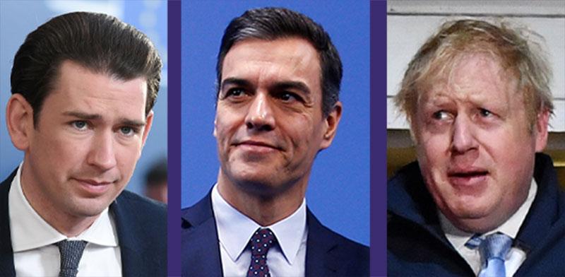 בוריס ג'ונסון, פדרו סנצ'ז, סבסטיאן קורץ / צילום: רויטרס