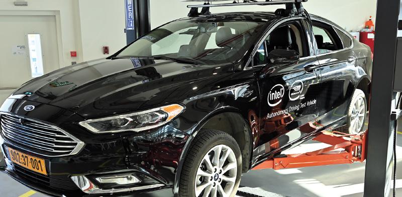 """מכונית אוטונומית של מובילאיי בכנס משקיעים של החברה שנערך בחודש שעבר / צילום: אינטל, יח""""צ"""