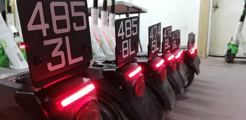 E-scooters with license numbers  / Photo: Courtesy Tel Aviv Municipality